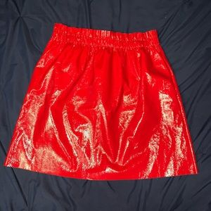Zara Red Faux Leather Skirt